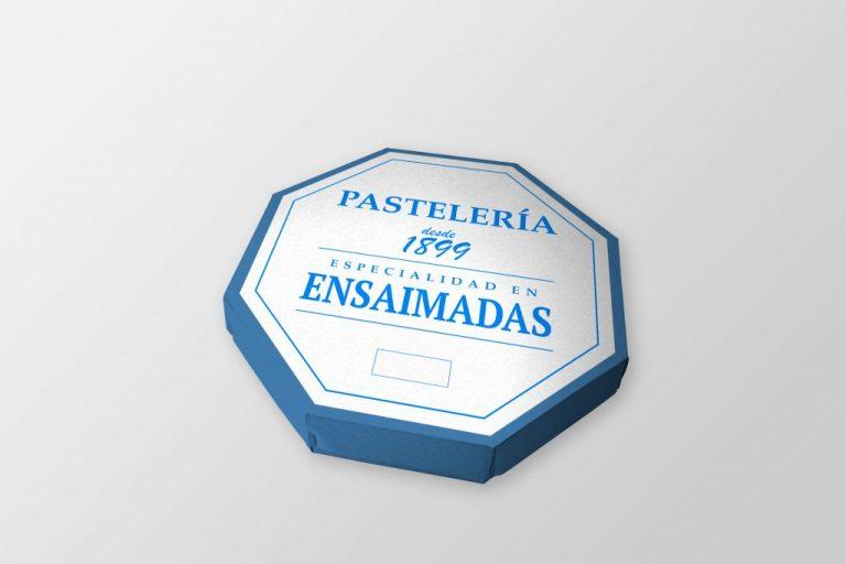 Mockup de una caja de ensaimada en formato PSD