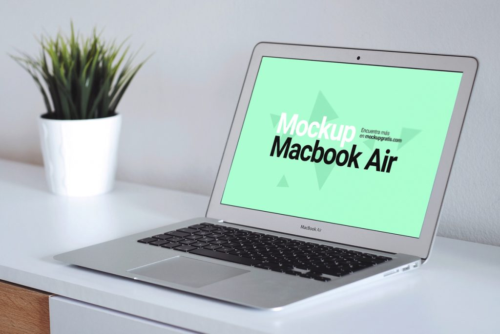 Mockup de un MacBook Air en perspectiva, formato PSD