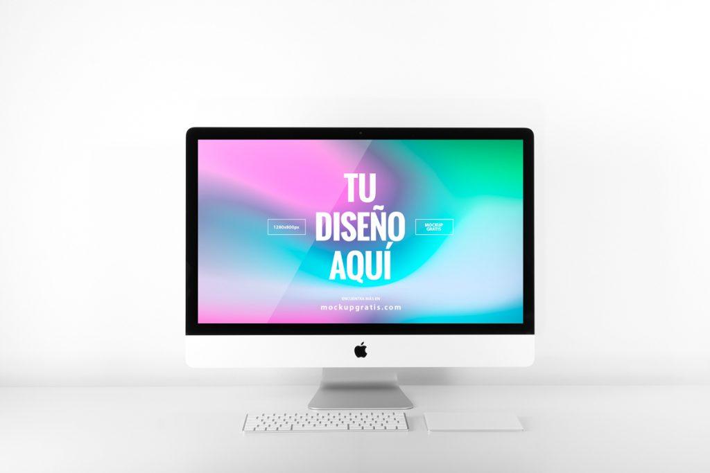 Mockup de un ordenador iMac en formato PSD