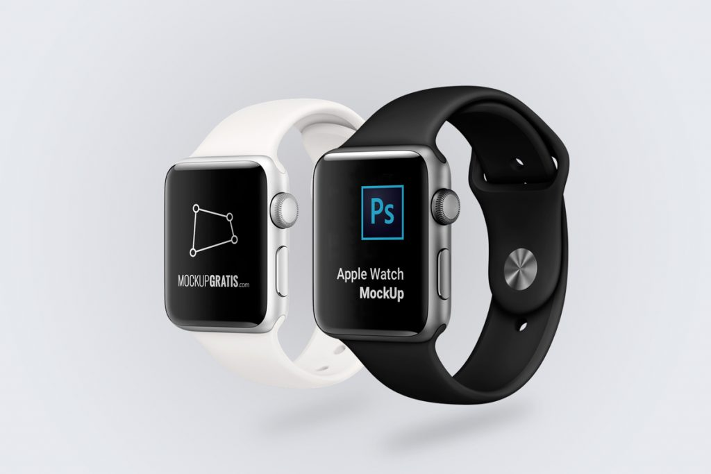 Mockup en PSD de dos Apple Watch blanco y negro