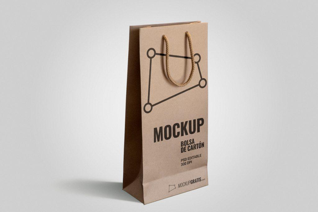 Mockup gratis de una bolsa de cartón alargada