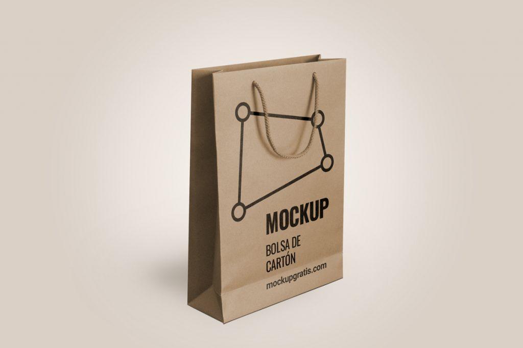 Mockup de una bolsa de cartón, merchandising, en PSD