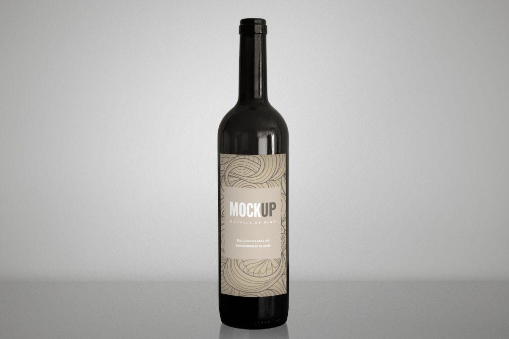 Mockup de una botella de vino gratis en formato PSD