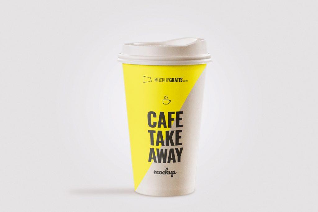 Un mockup gratis de un vaso de café take away en formato PSD
