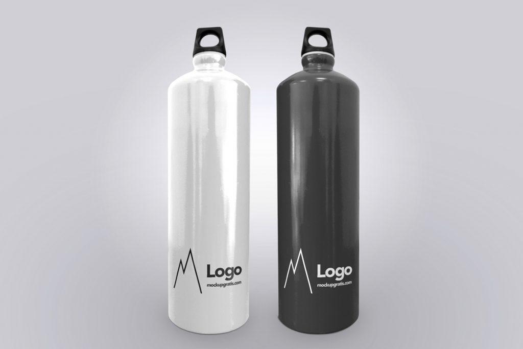 Mockup gratis de una botella cantimplora blanca y otra negra