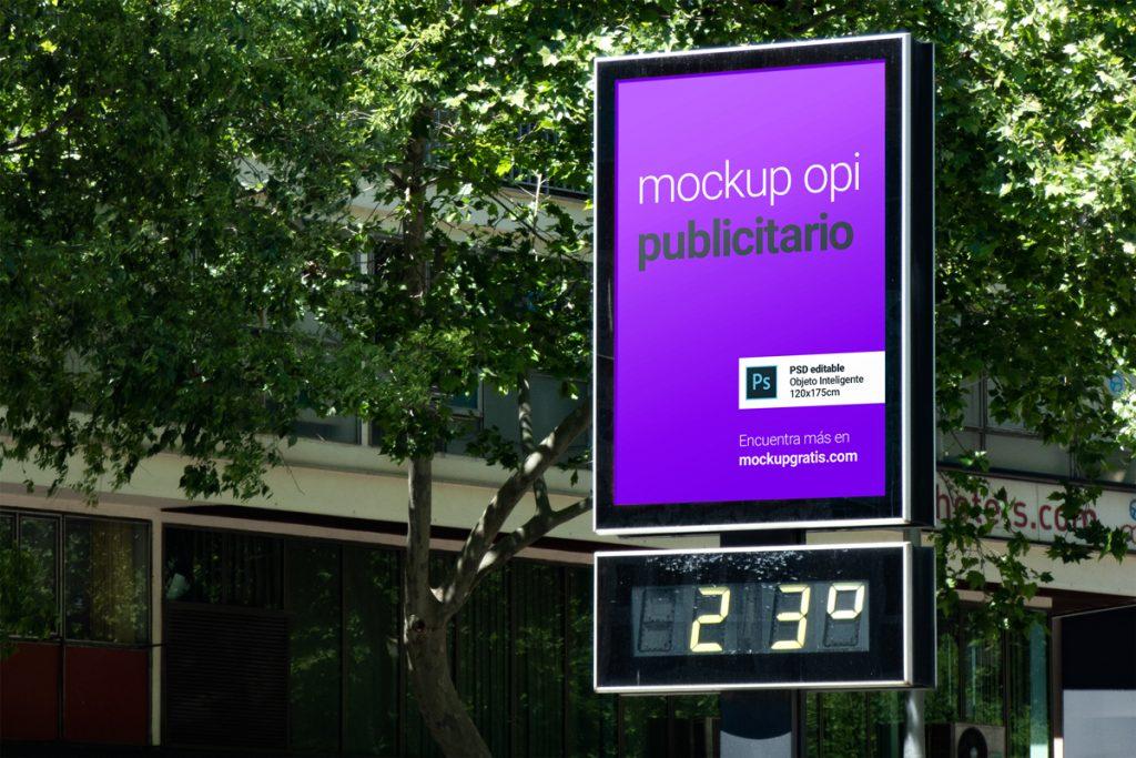 Mockup gratis de un Opi publicitario