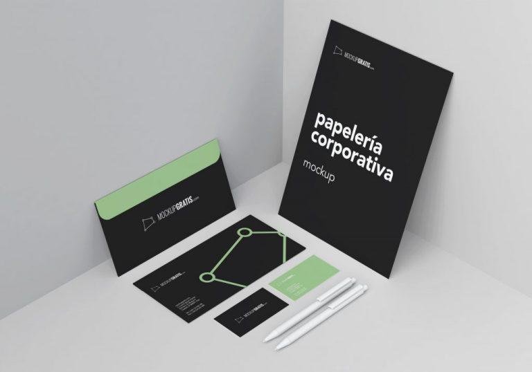 Mockup de papelería corporativa gratis en formato PSD