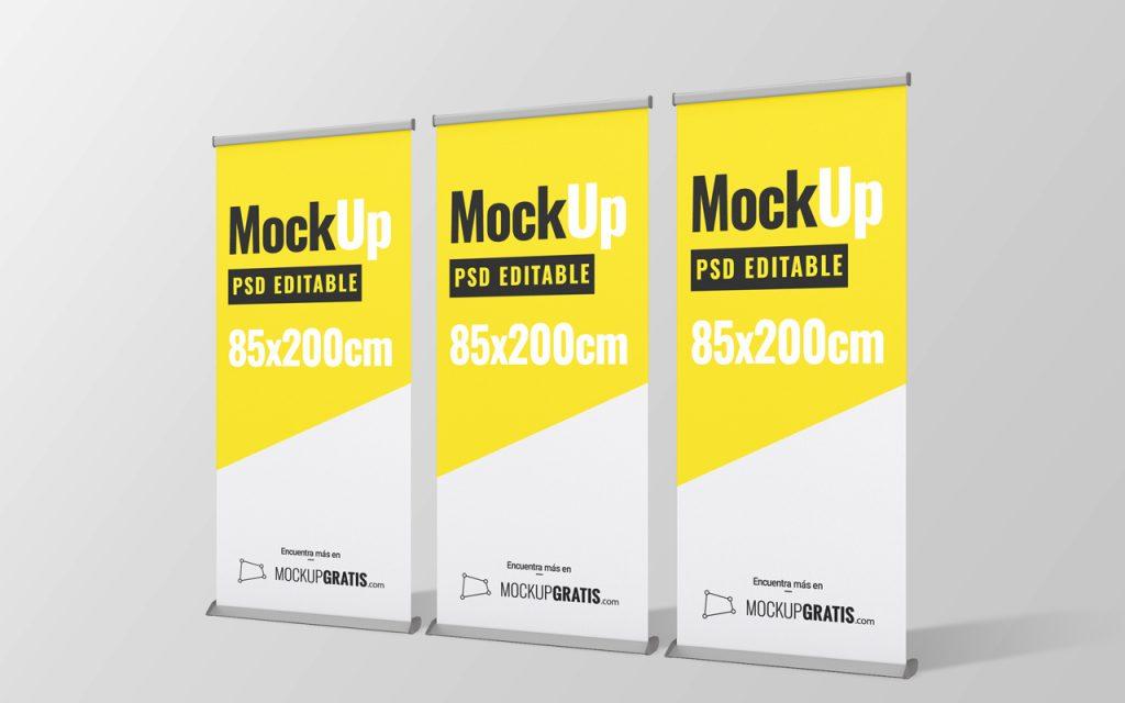 Mockup gratis de un rollup para publicidad en formato PSD