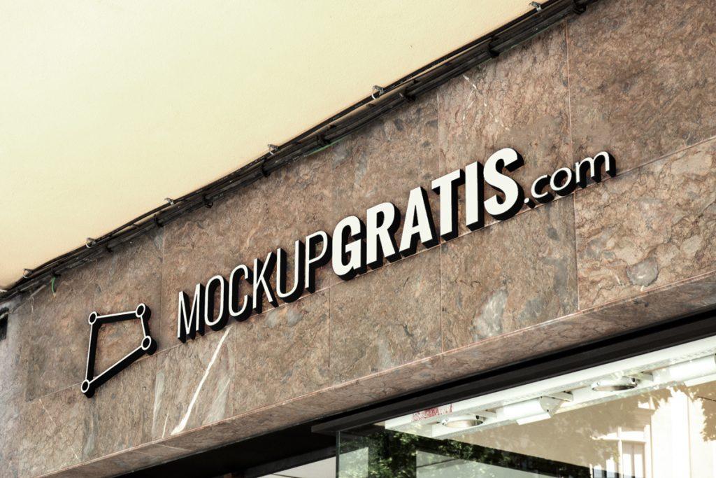 Mockup gratis de un rótulo de una fachada