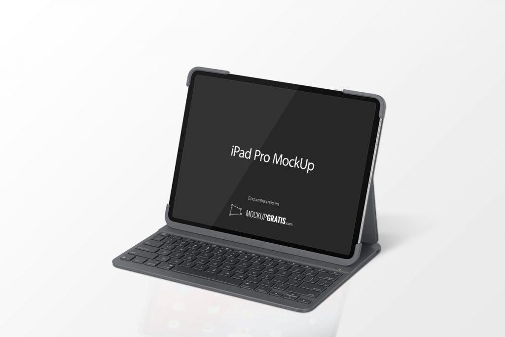 Mockup de un iPad Pro con teclado en formato PSD