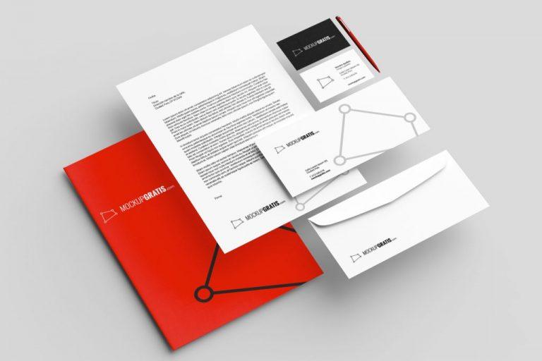 Mockup en PSD de una identidad corporativa en papelería
