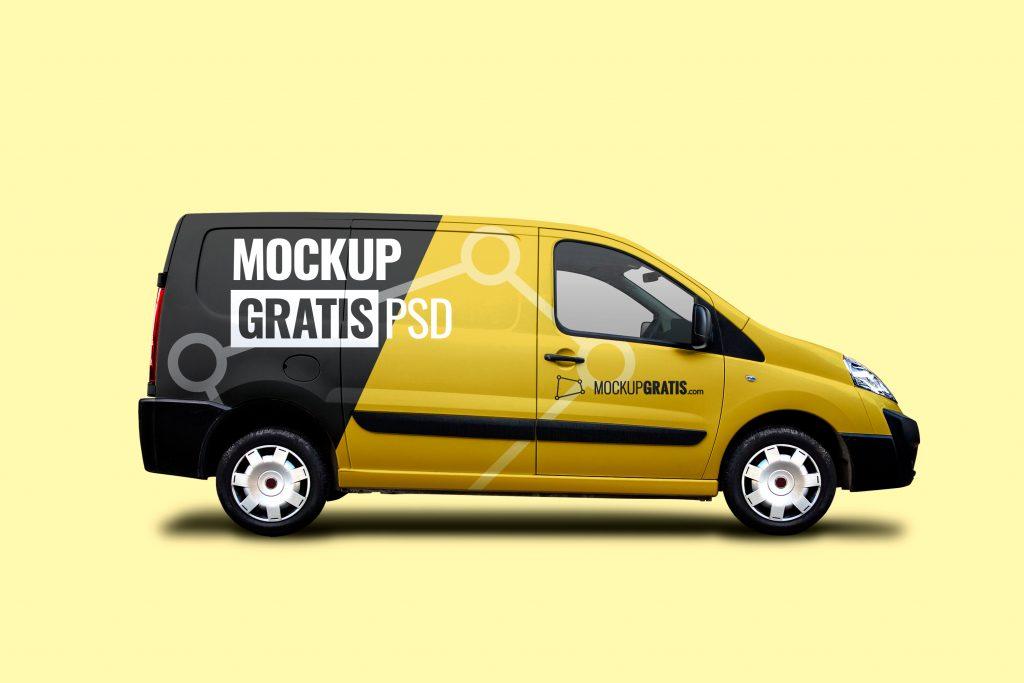 Un mockup de furgoneta, fácil de personalizar, gratuito y en formato PSD de Adobe Photoshop