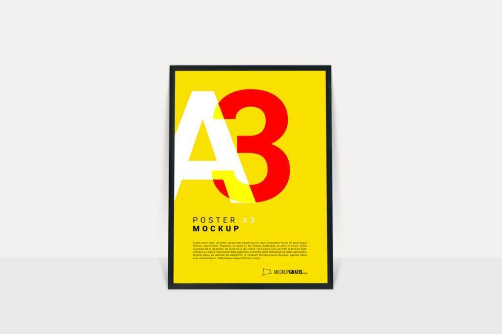 Poster A3 mockup gratis en formato PSD