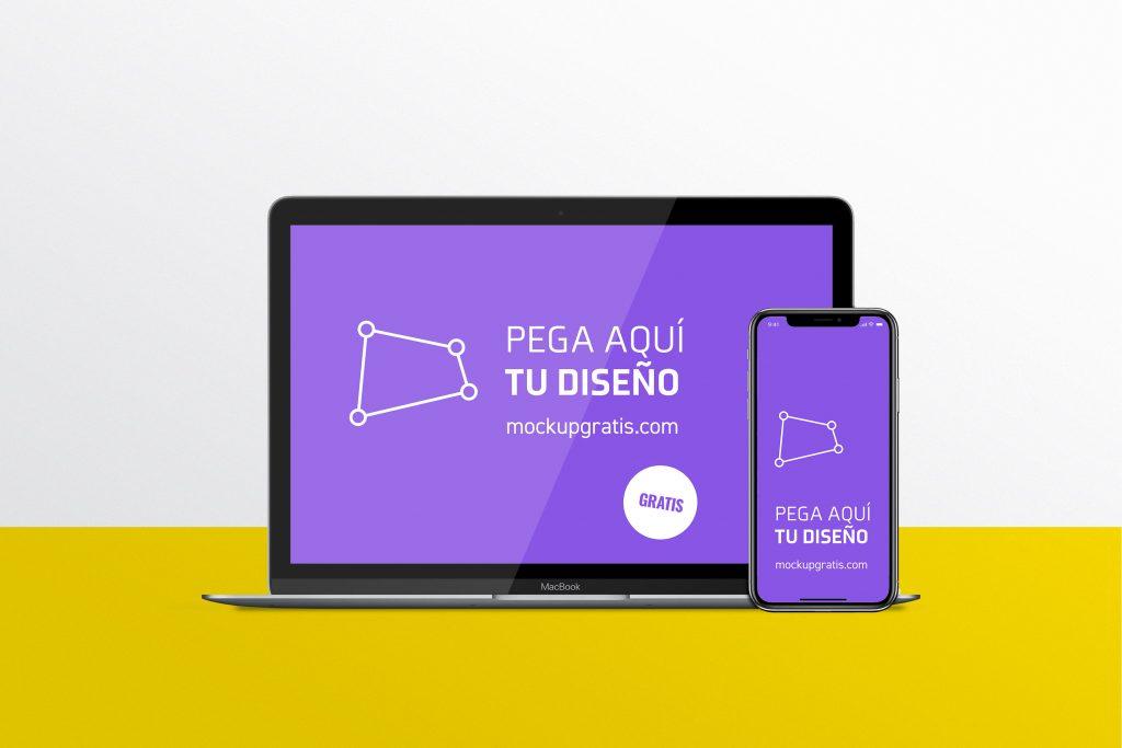 Mockup de un Macbook y un Iphone para 'responsive design', en formato PSD