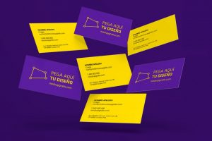 Mockup gratis de unas tarjetas de visita flotando, en formato PSD