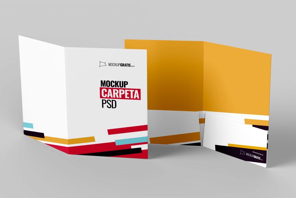Un mockup de una carpeta A4 por las dos caras para diseño gráfico, en formato PSD y gratuito