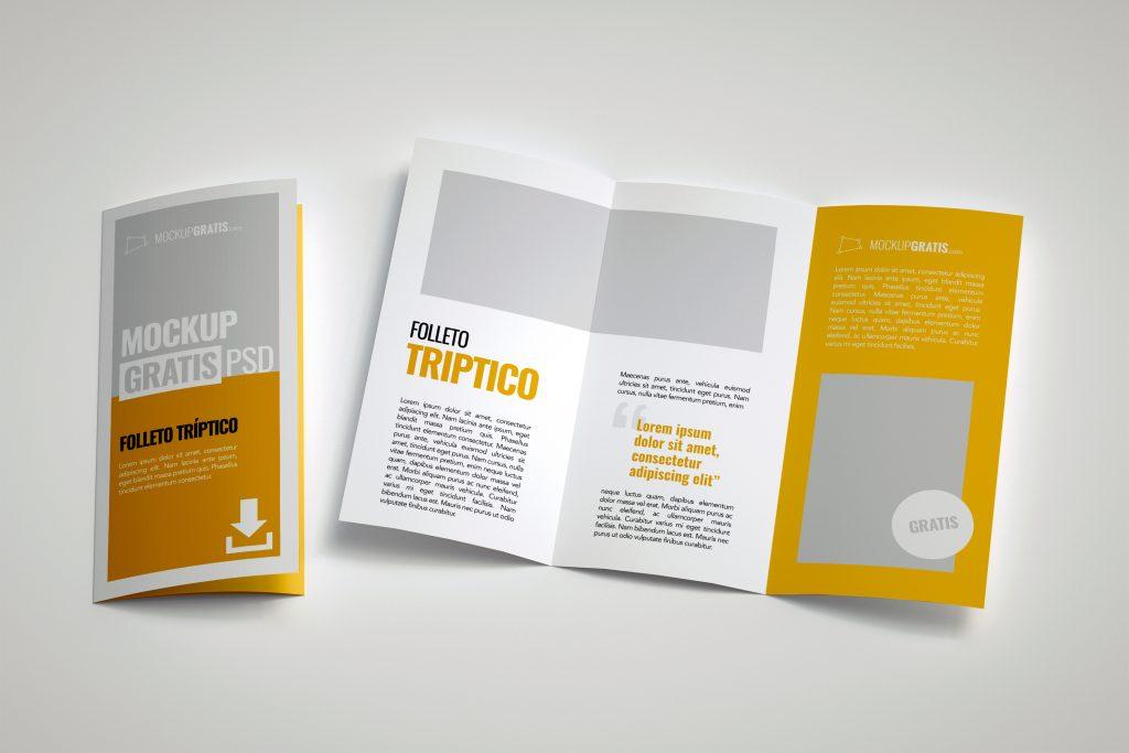 Mockup en PSD de un volante tríptico o folleto publicitario de tres cuerpos