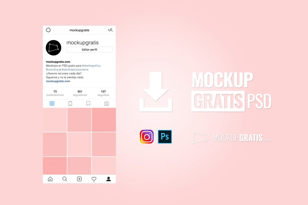 Mockup gratis en PSD de un perfil de Instagram