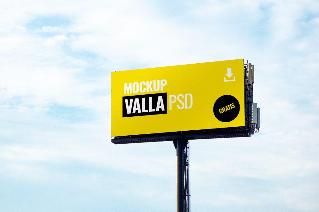 Mockup de una valla publicitaria, gratis, en formato PSD de Adobe Photoshop