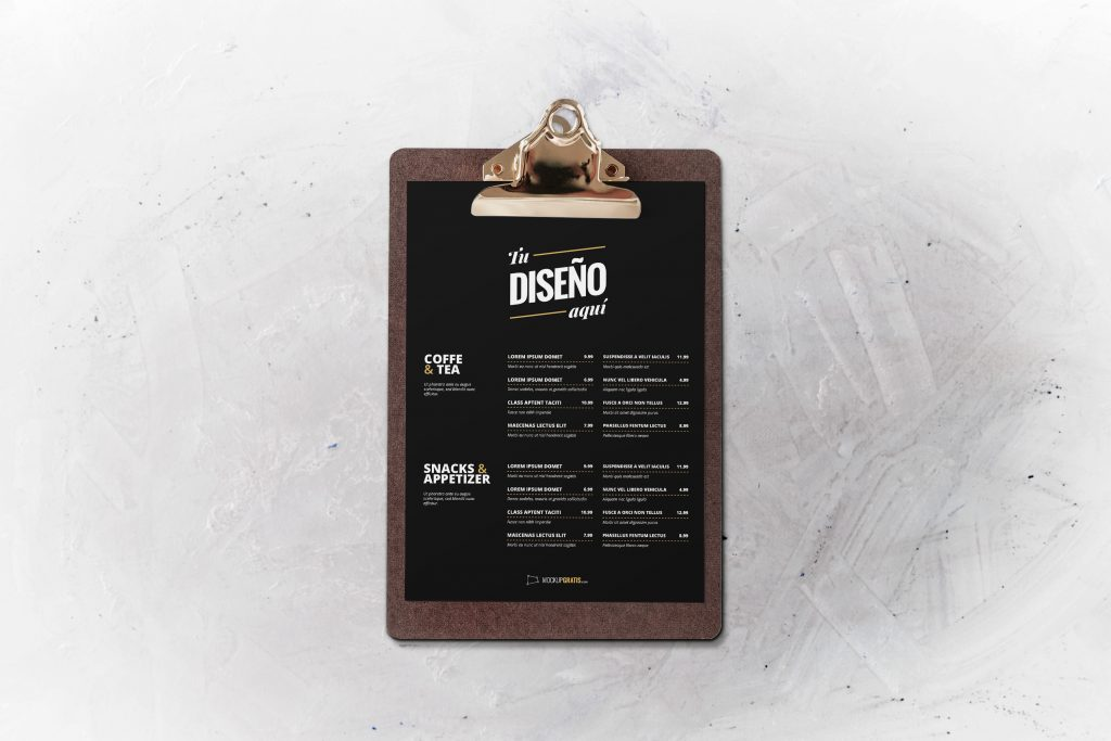 Mockup de un menu de restaurante editable en Photoshop