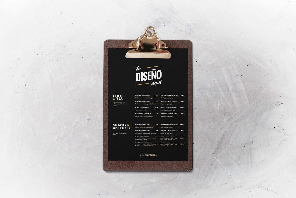 Mockup de un menu de restaurante editable en Photoshop
