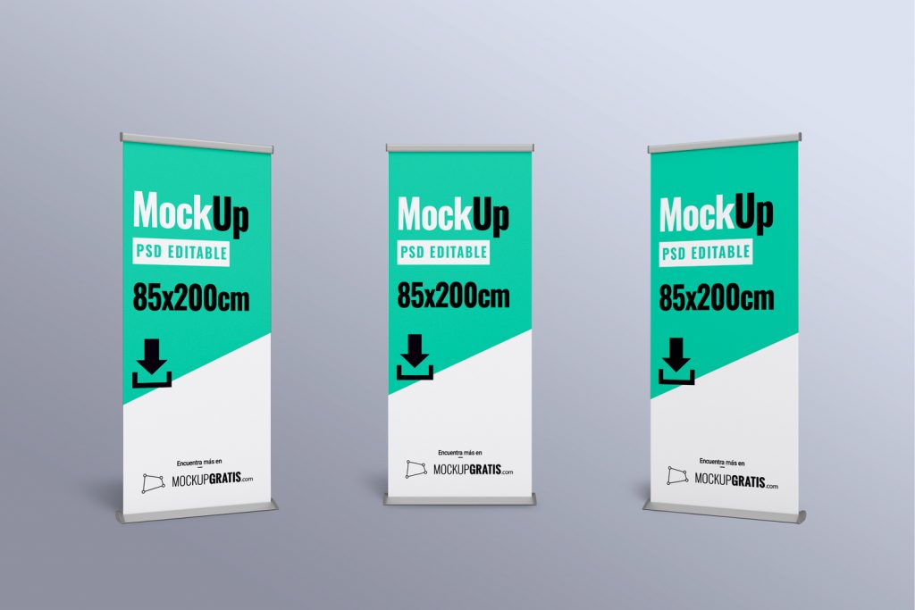 Mockup gratis de Rollup en PSD editable