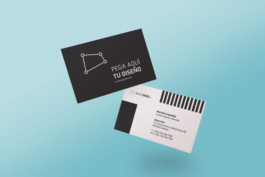 Mockup de dos tarjetas de presentación en formato PSD de Photoshop