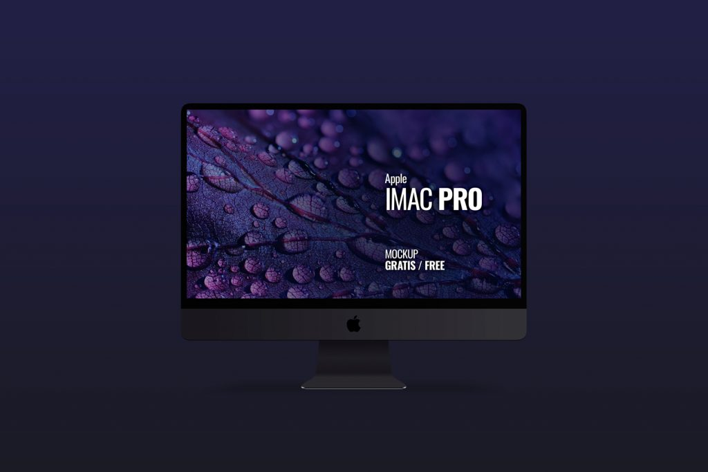 Mockup en PSD de un Imac Pro color Space Gray