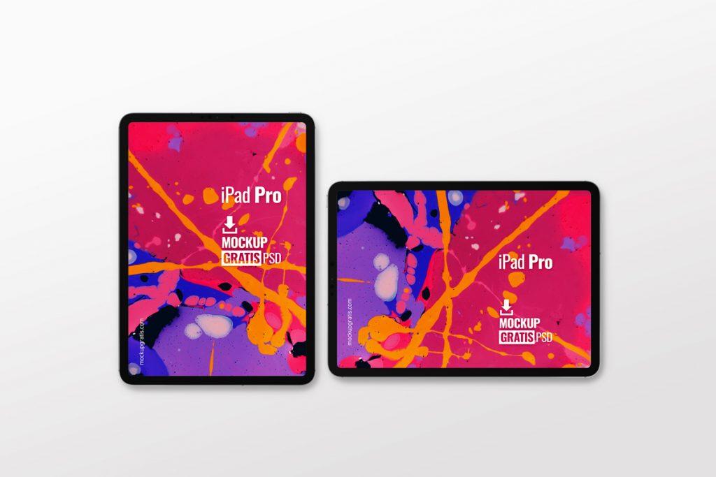 Mockup gratis de iPad Pro en dos posiciones, horizontal y vertical