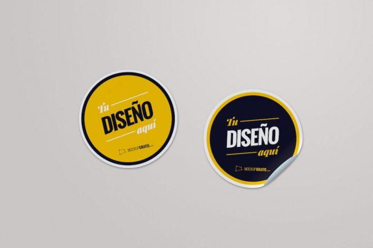 Mockup de dos pegatinas para diseño gráfico