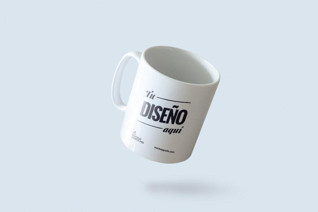 Mockup de taza para diseño de merchandising, archivo en formato PSD de Photoshop