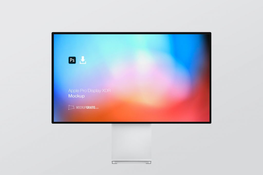 Mockup gratis de un Apple Pro Display XDR, diseñado en Photoshop