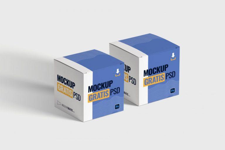 Mockup de packaging gratis de unas cajas de cartón en formato Adobe Photoshop