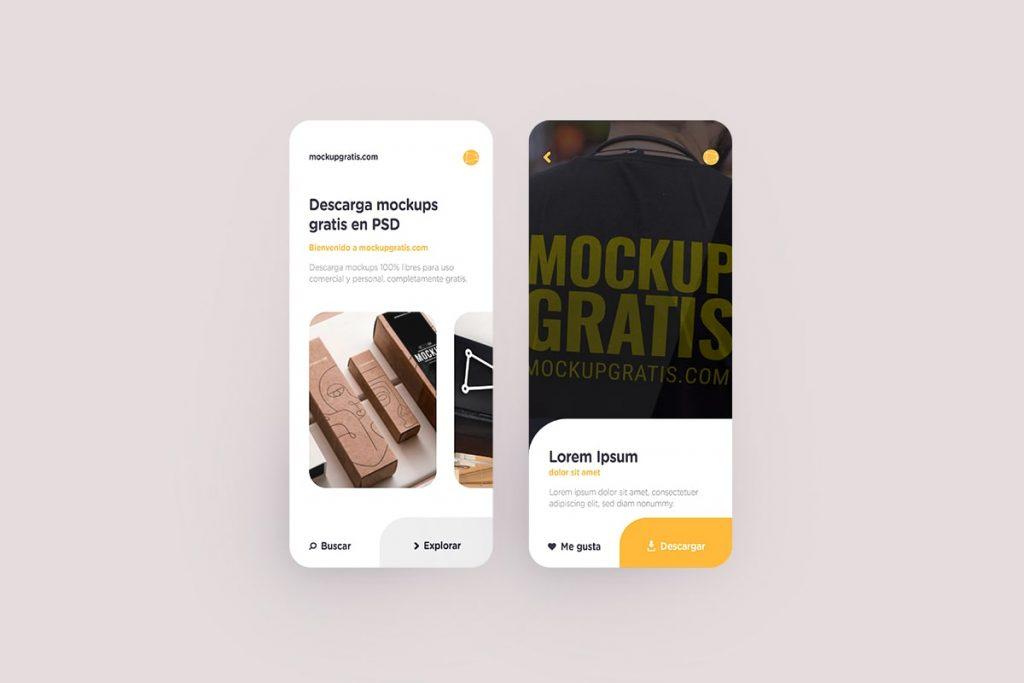 Mockup de celular gratis, dos pantallas flotando sobre un fondo, en formato PSD