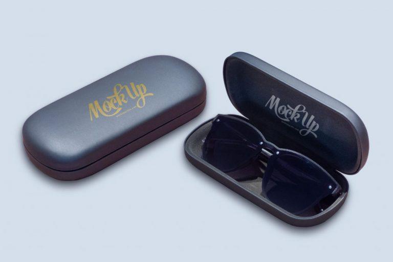 Mockup de estuche o caja de gafas de sol en formato PSD de Adobe Photoshop