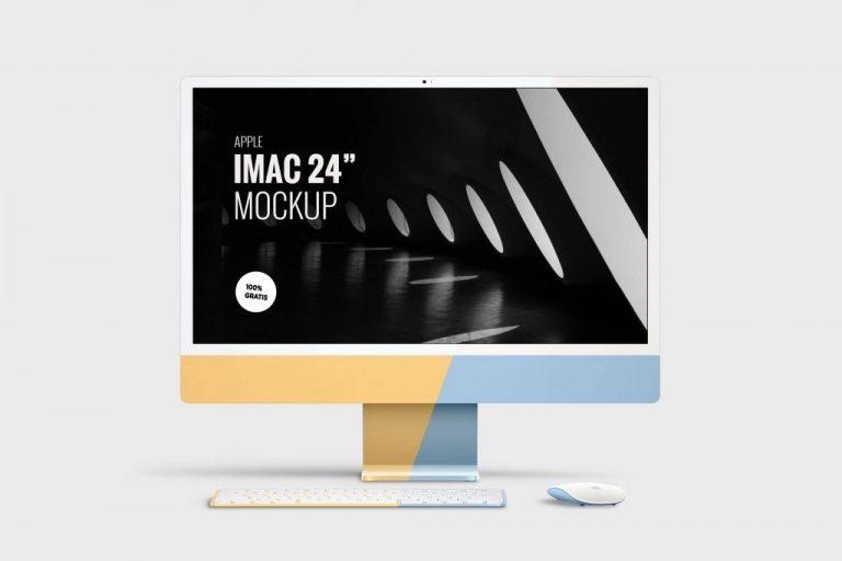 Mockup iMac 24 inch retina gratis en PSD